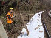 Ochrana kolejového lože geotextilií.