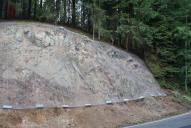 Ochrana skalního zářezu dvouzákrutovou ocelovou sítí Maccaferri. Síť je z důvodu údržby a následného čištění přikotvena pouze na horním horizontu a ve spodní části pouze zatížena betonovými prefabrikáty.