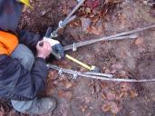 Montáž lanových svorek na kotevní lana.