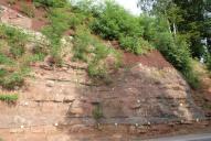 Zarůstání vegetací rok po sanaci. Horní partie pokryta protierozní výstužnou rohoží Macmat Maccaferri. Spodní partie pokryta ocelovou dvouzákrutovou sítí 6×8 Maccaferri.